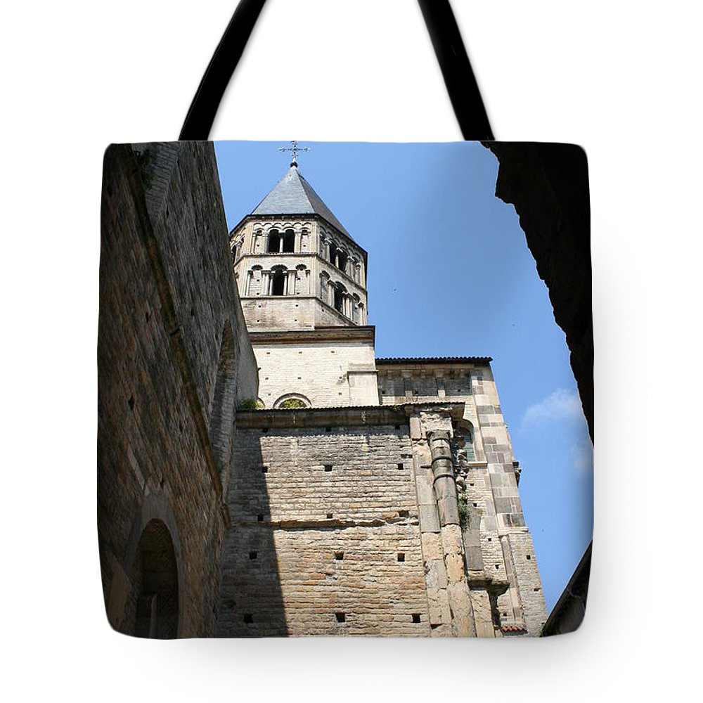 Cloister Tote Bag featuring the photograph Cloister Cluny Church Steeple by Christiane Schulze Art And Photography