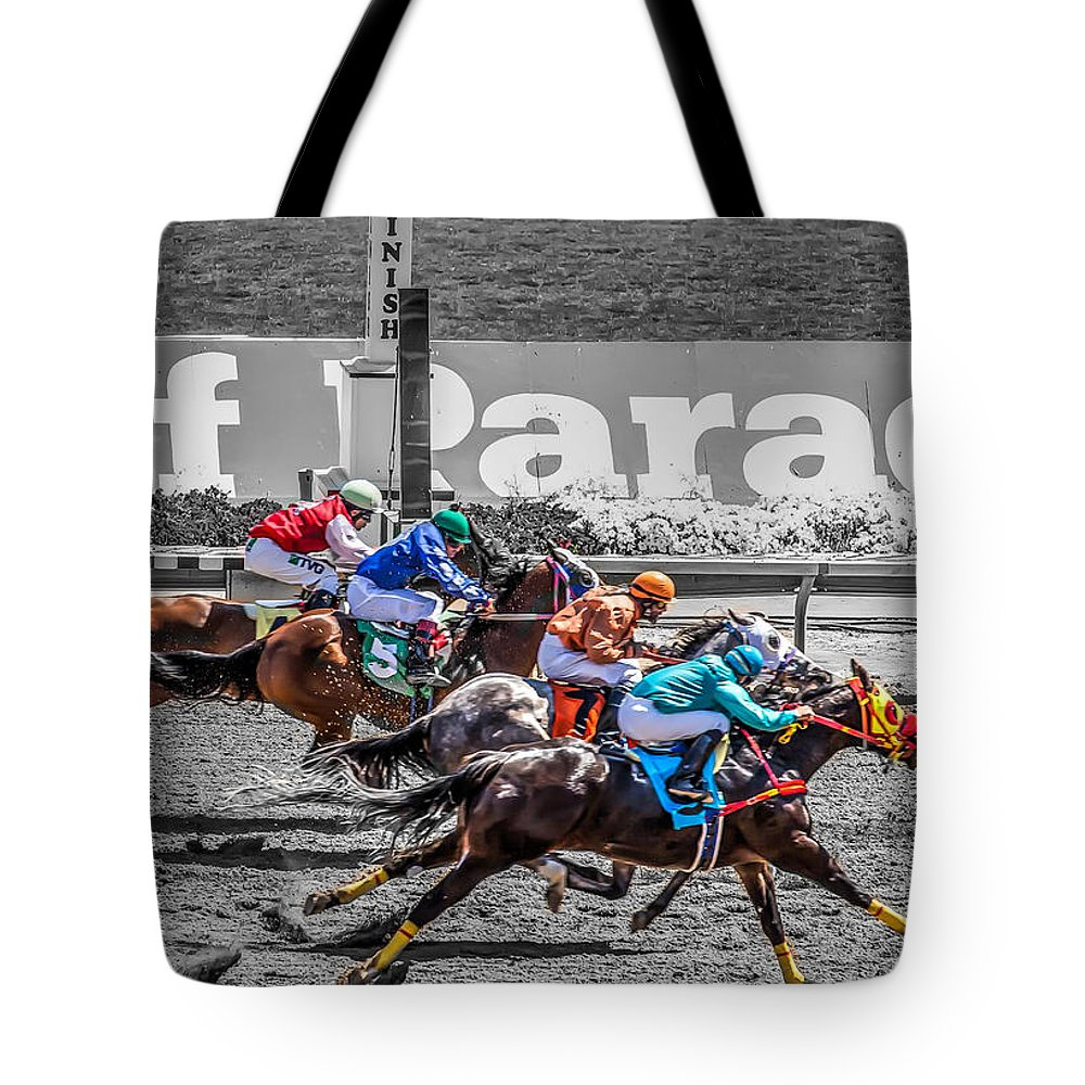 Phoenix Tote Bag featuring the photograph Close Finish At Turf Paradise by James Gordon Patterson