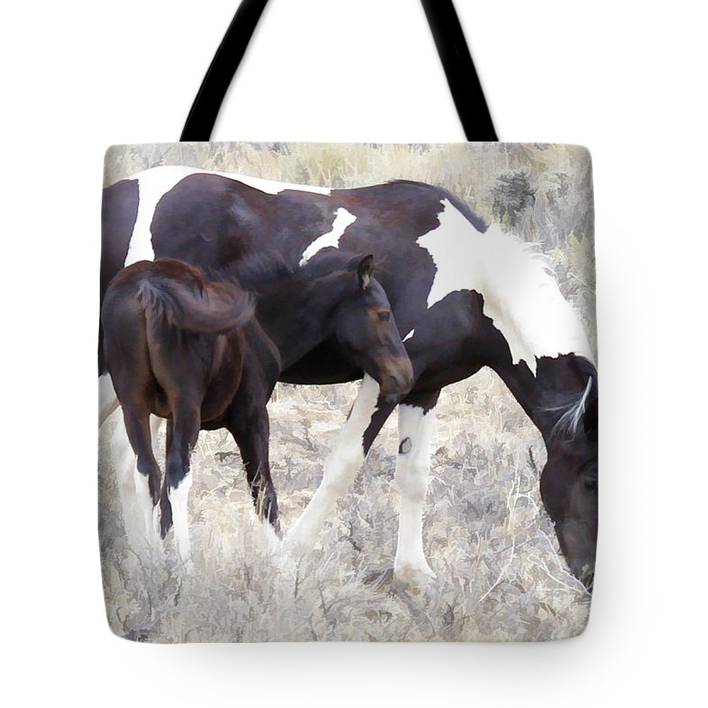Horses Tote Bag featuring the photograph Close To Home by Athena Mckinzie