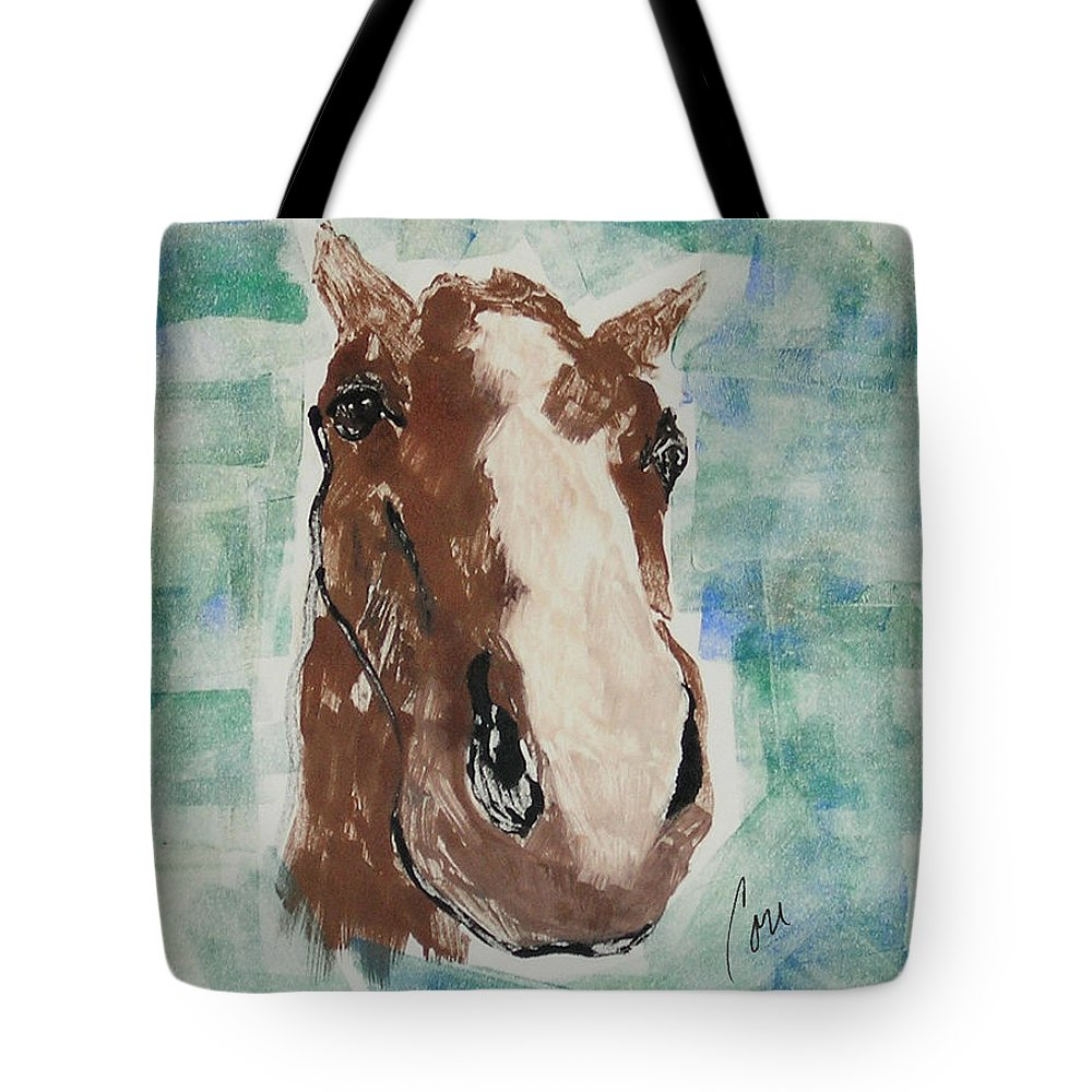 Horse Tote Bag featuring the mixed media Close Up by Cori Solomon