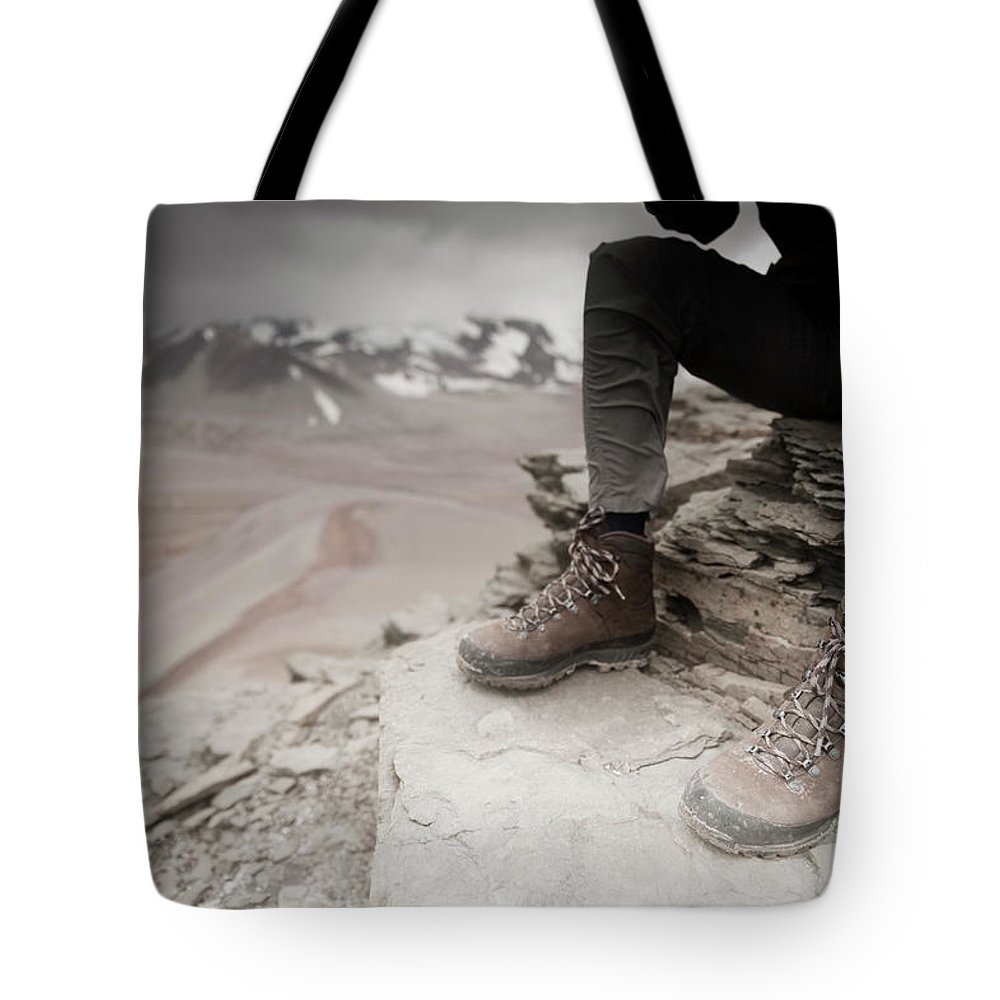 Adult Tote Bag featuring the photograph Close Up Of A Mountaineers Windblown by Nick Hall