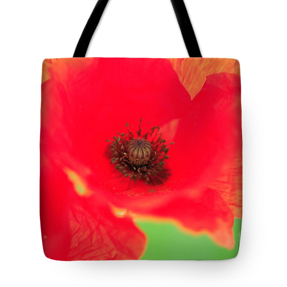 Battle Tote Bag featuring the photograph Close Up Poppies by Deborah Benbrook
