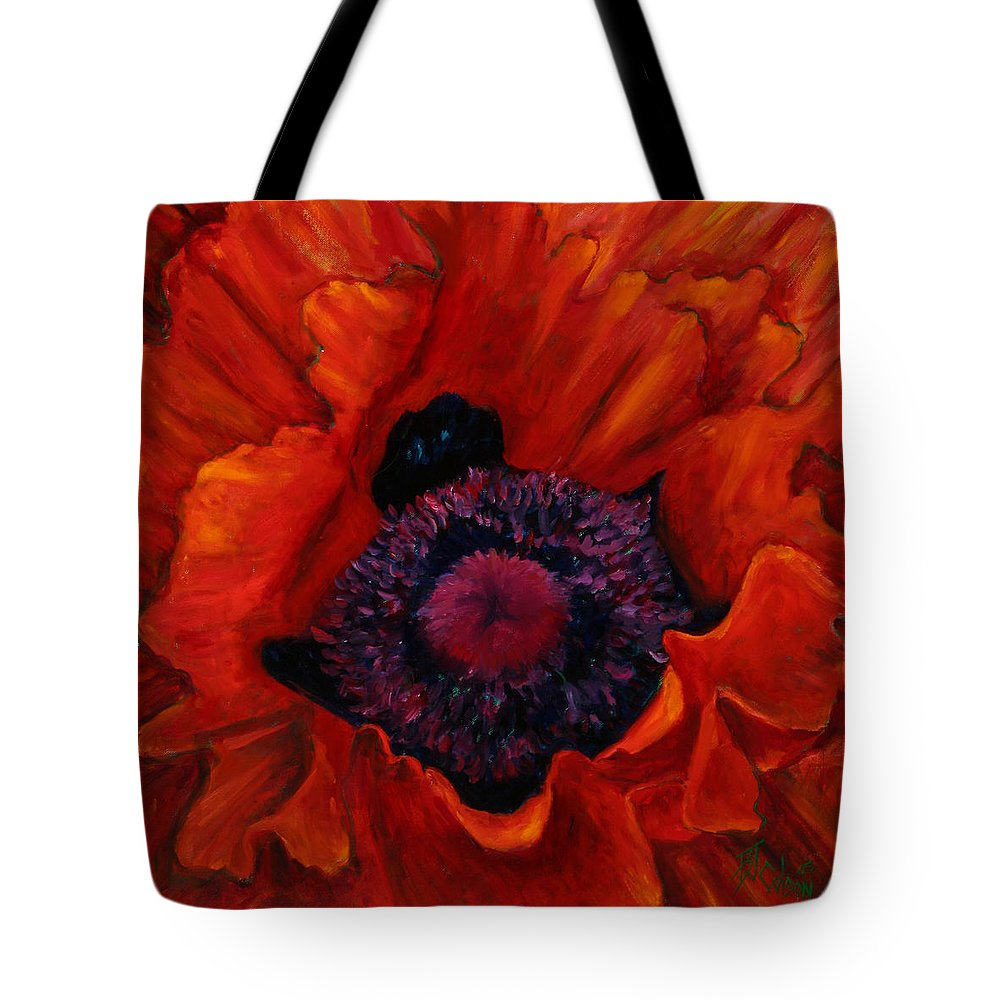 Red Poppy Tote Bag featuring the painting Close Up Poppy by Billie Colson