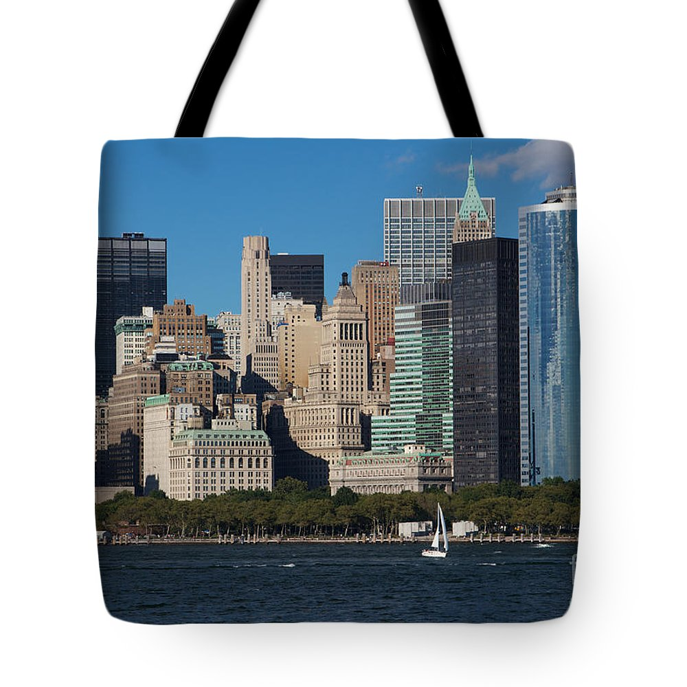 America Tote Bag featuring the photograph Close View Of Downtown Manhattan Eastern Skyline by Jannis Werner