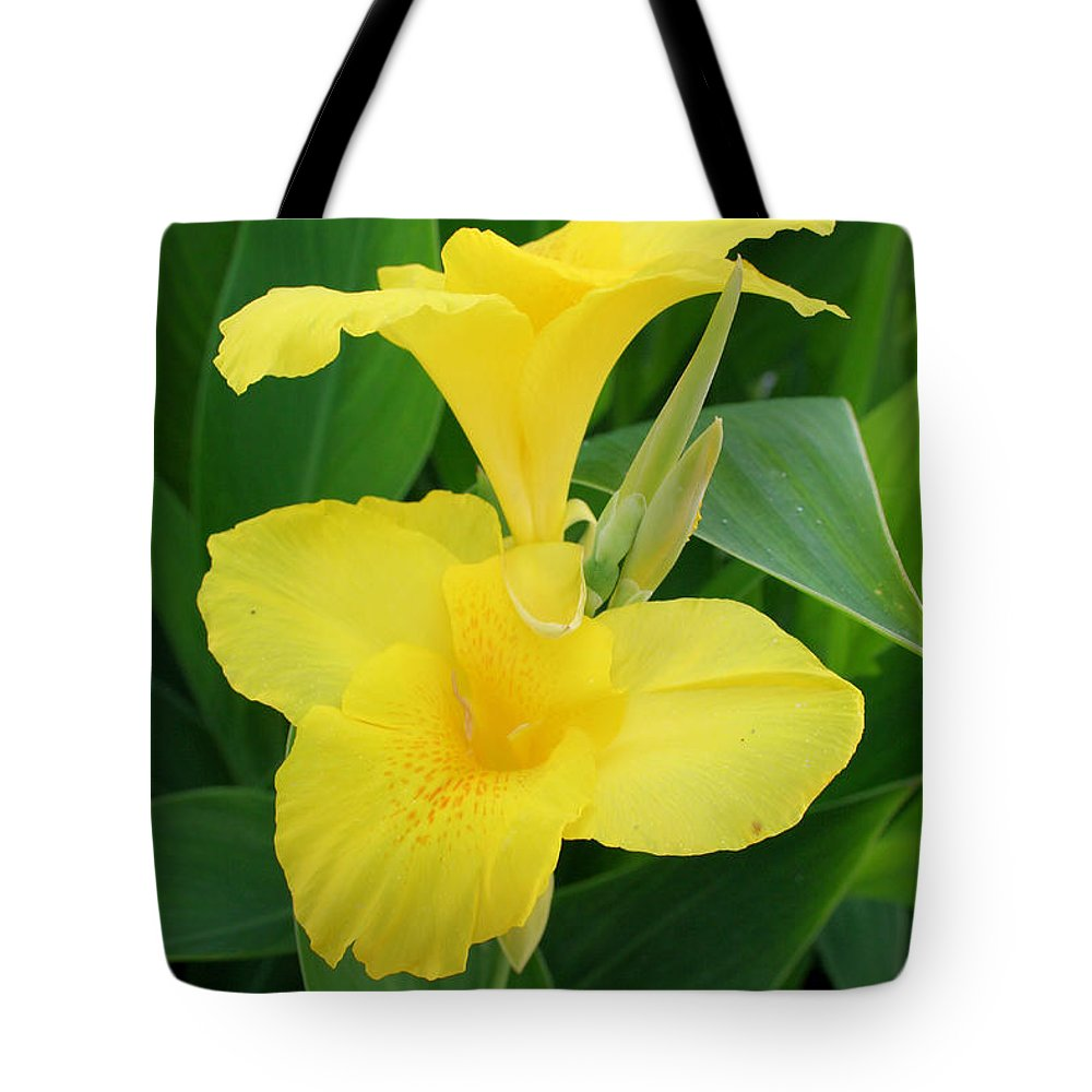 Canna Tote Bag featuring the photograph Closeup Of A Tropical Yellow Canna Lily by Taiche Acrylic Art