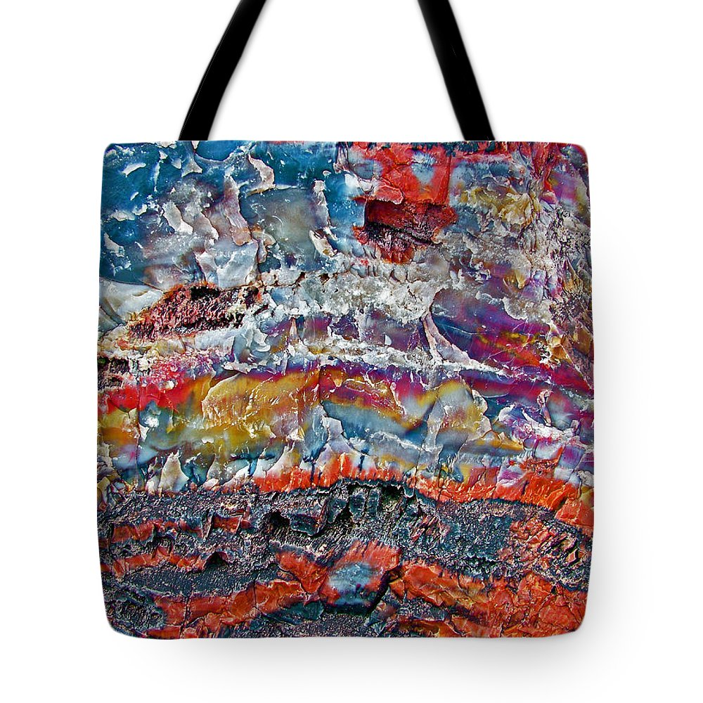 Closeup Of Petrified Wood In Crystal Forest In Petrified Forest National Park Tote Bag featuring the photograph Closeup Of Petrified Wood In Crystal Forest In Petrified Forest National Park- Arizona by Ruth Hager