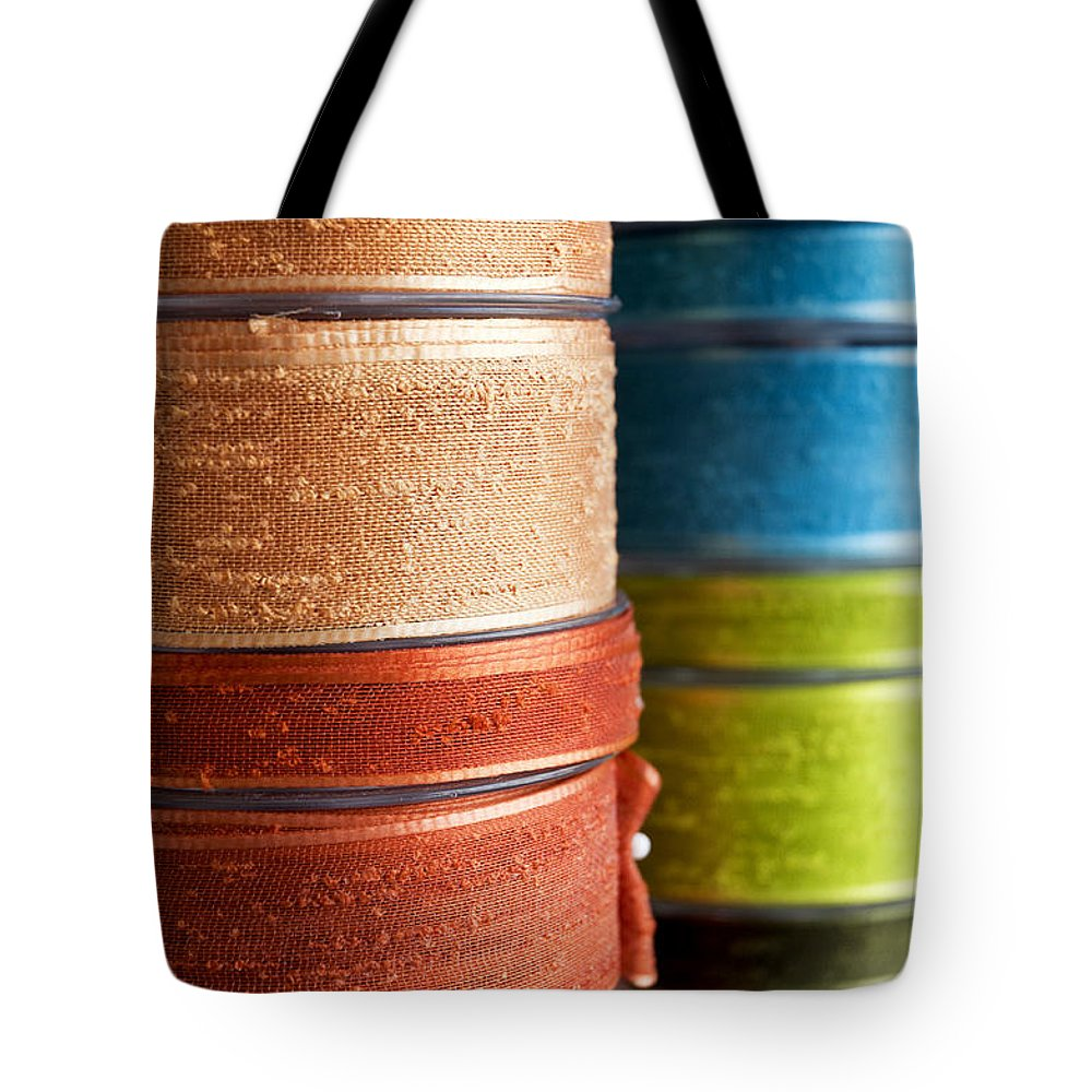 Macro Tote Bag featuring the photograph Cloth Ribbons by Fabrizio Troiani