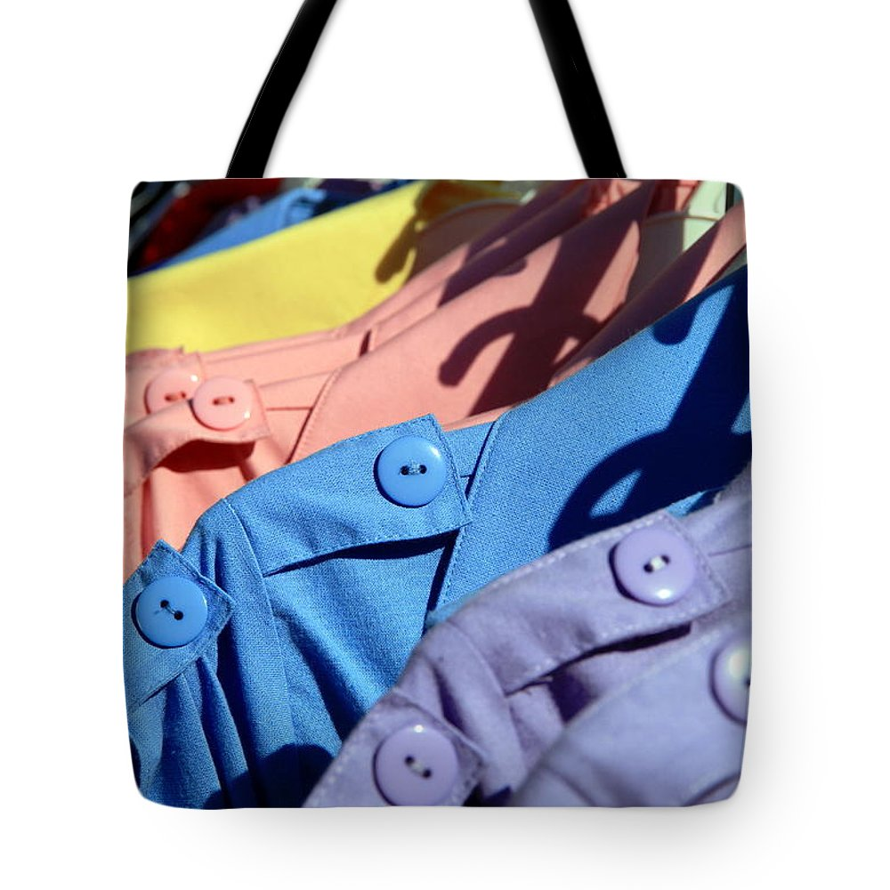 Sale Tote Bag featuring the photograph Clothes Street Sale by Valentino Visentini