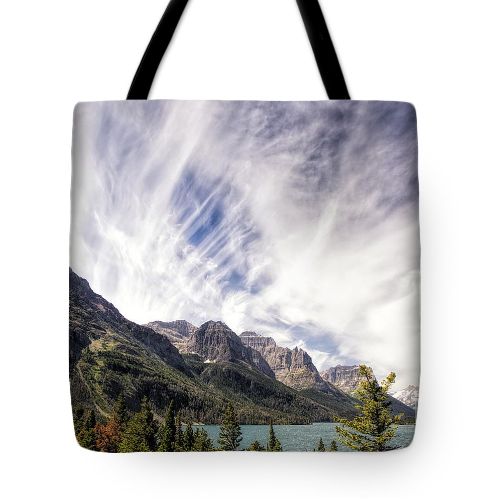 Glacier Tote Bag featuring the photograph Cloud Formation At Saint Mary Lake by Timothy Hacker