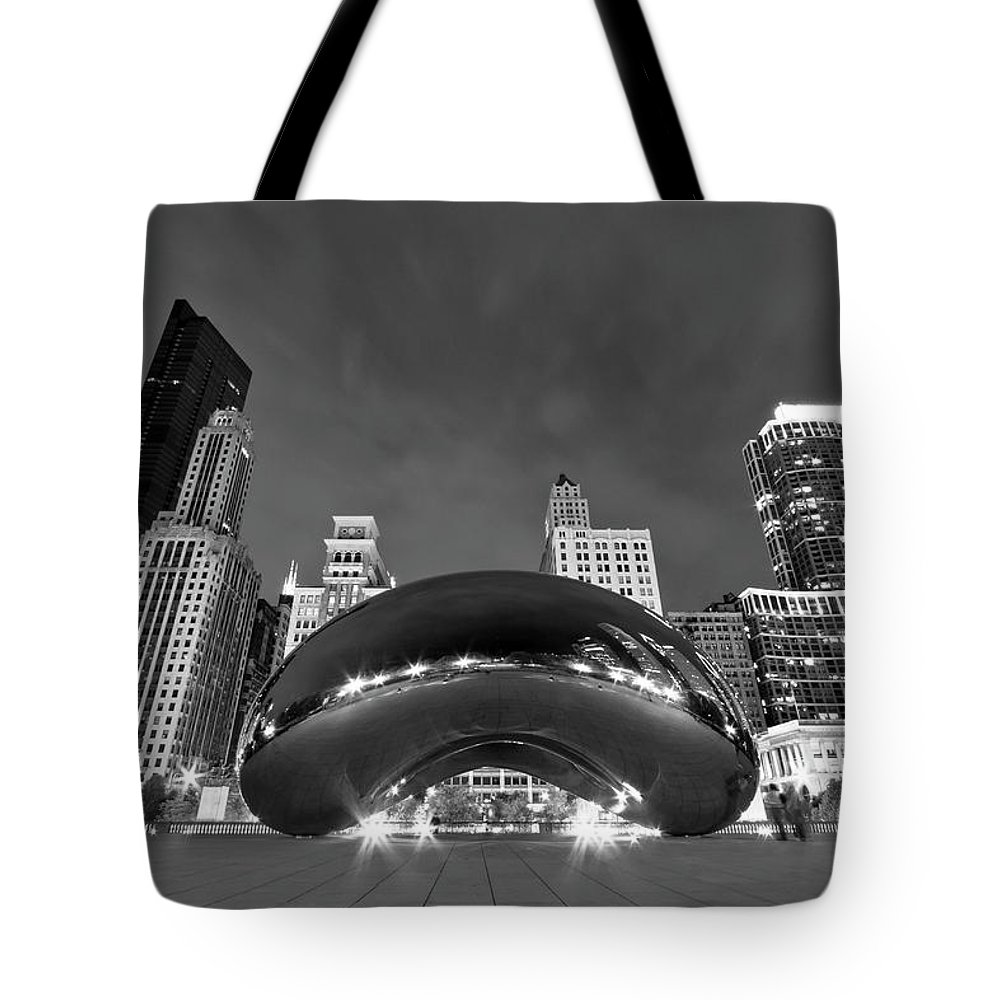 3scape Tote Bag featuring the photograph Cloud Gate and Skyline by Adam Romanowicz