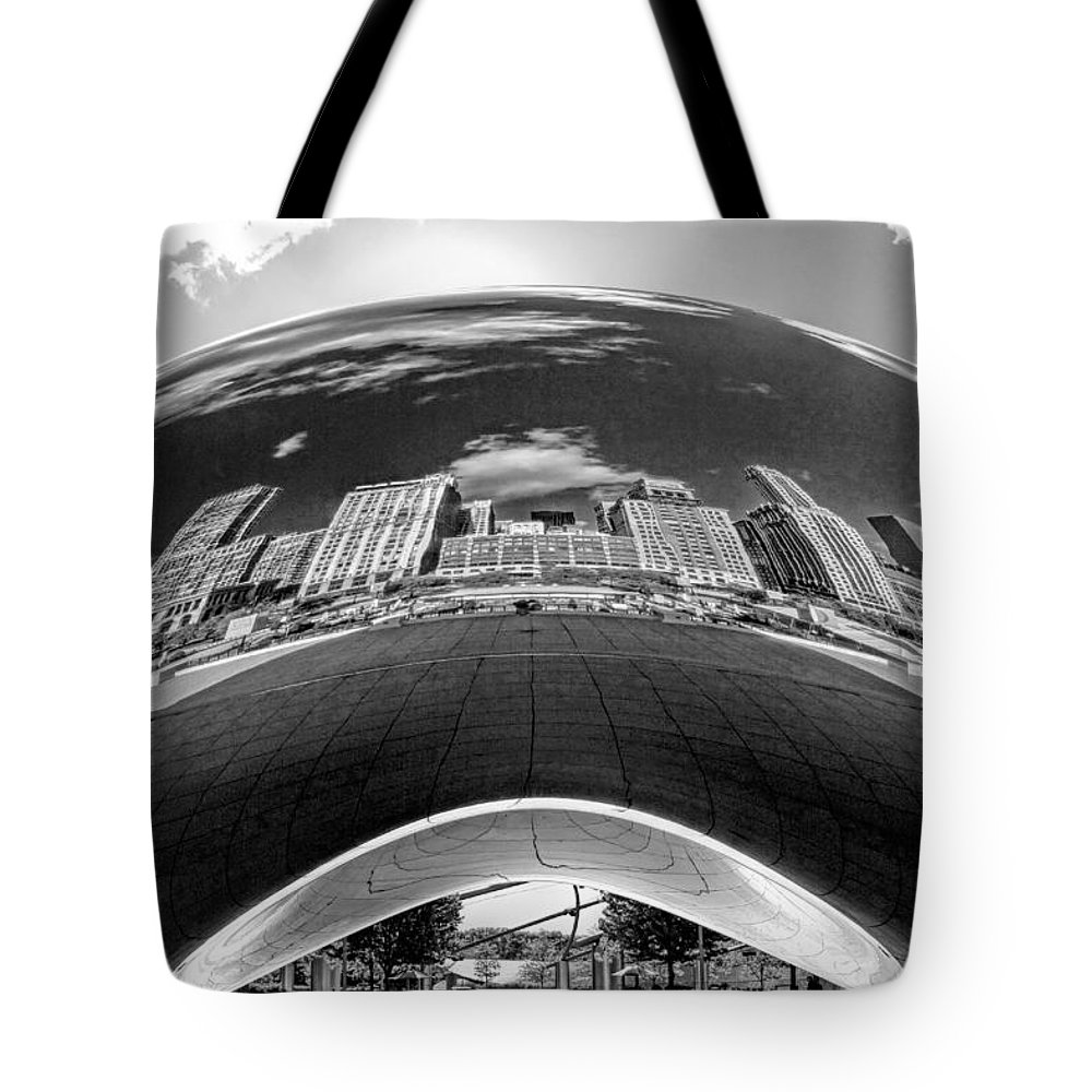 Chicago Tote Bag featuring the photograph Cloud Gate Under The Bean Black And White by Christopher Arndt