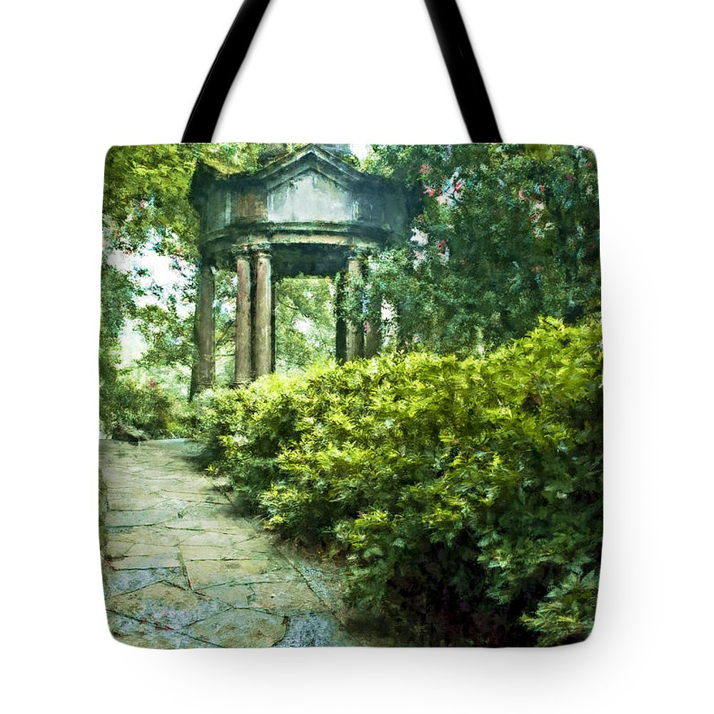 Asia Tote Bag featuring the digital art Cloud Pavilion Expressionist Plein Air by David Lange