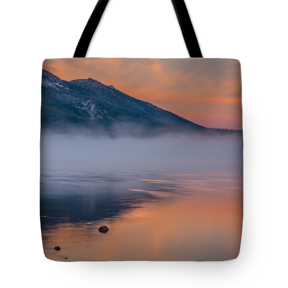 Landscape Tote Bag featuring the photograph Cloud Reflection And Fog On Lake Tahoe by Marc Crumpler