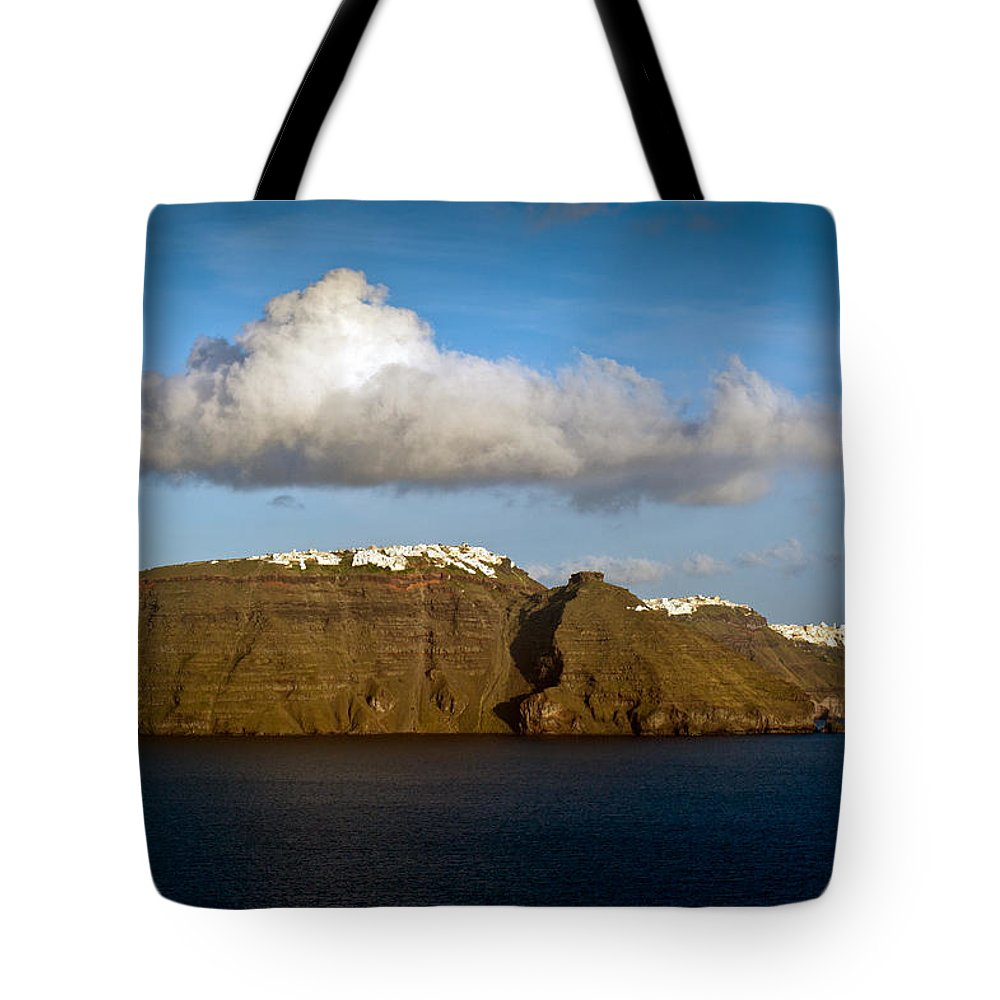 Aegean Sea Tote Bag featuring the photograph Clouds And Cliffs by Gary Eason