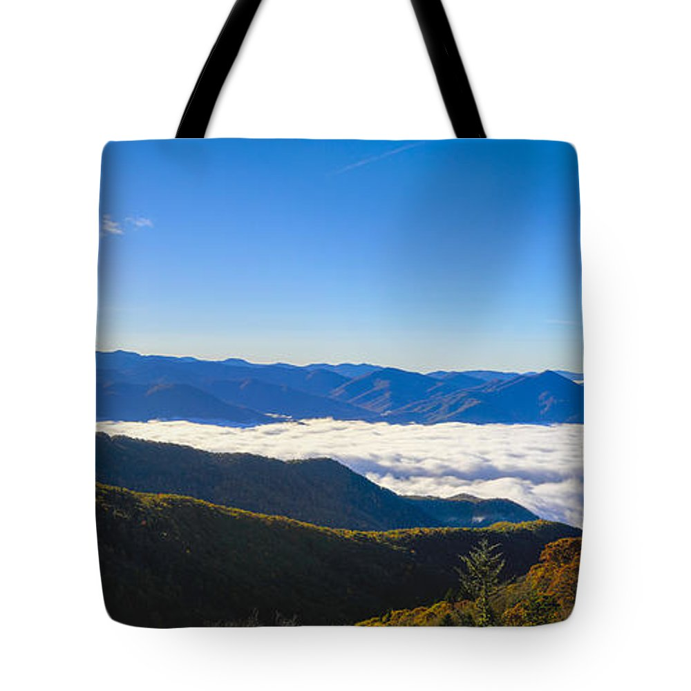 Waterrock Knob Tote Bag featuring the photograph Clouds Below Watterock Knob At Sunrise by Steve Samples