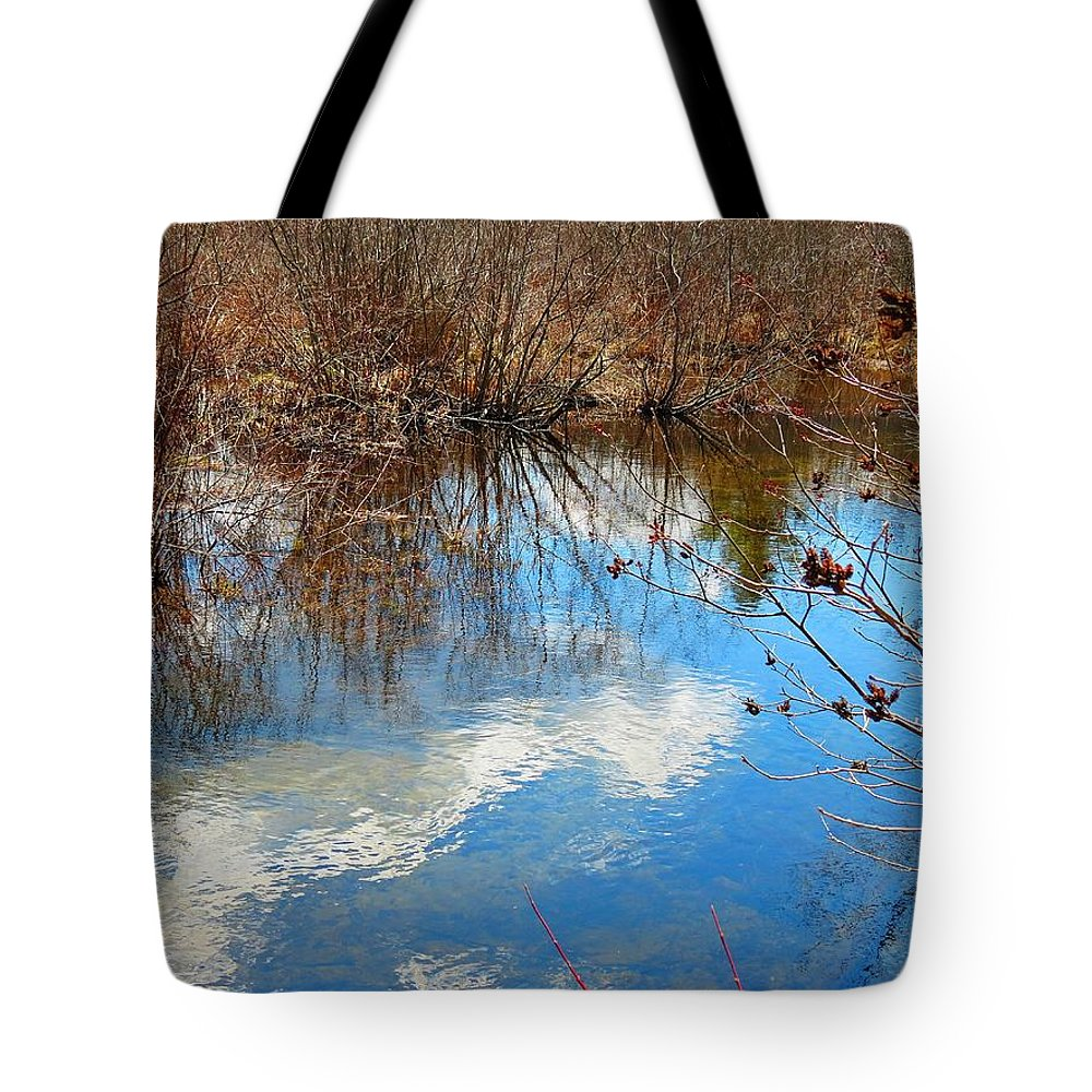 Mirey Brook Tote Bag featuring the photograph Clouds On Water by MTBobbins Photography