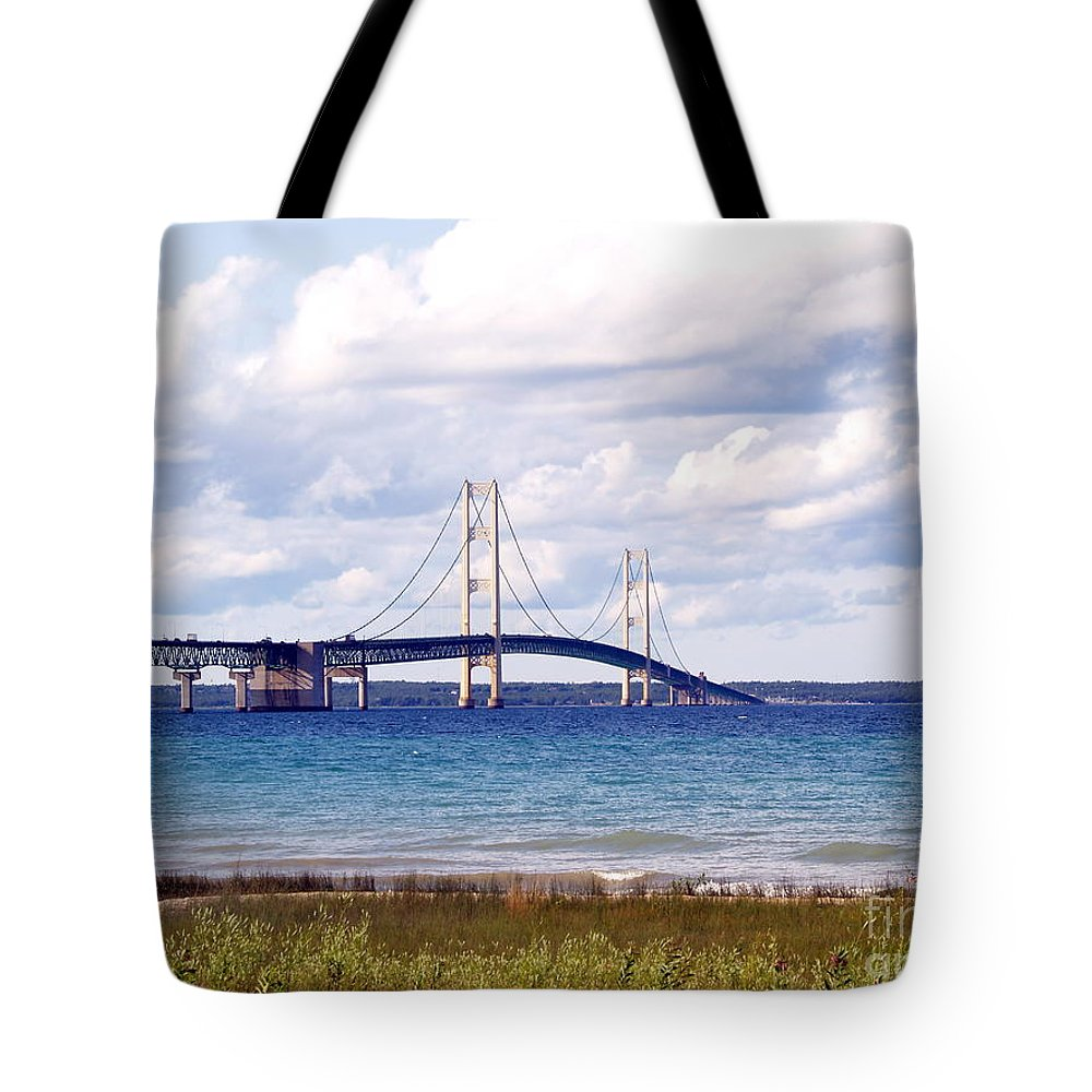 Bridge Tote Bag featuring the photograph Clouds Over Mackinaw by Melissa McDole