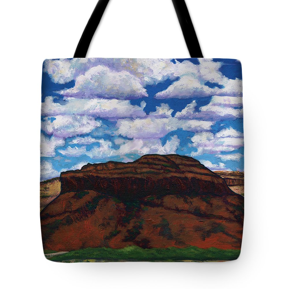 Lanscape Tote Bag featuring the painting Clouds Over Red Mesa by Joe Triano