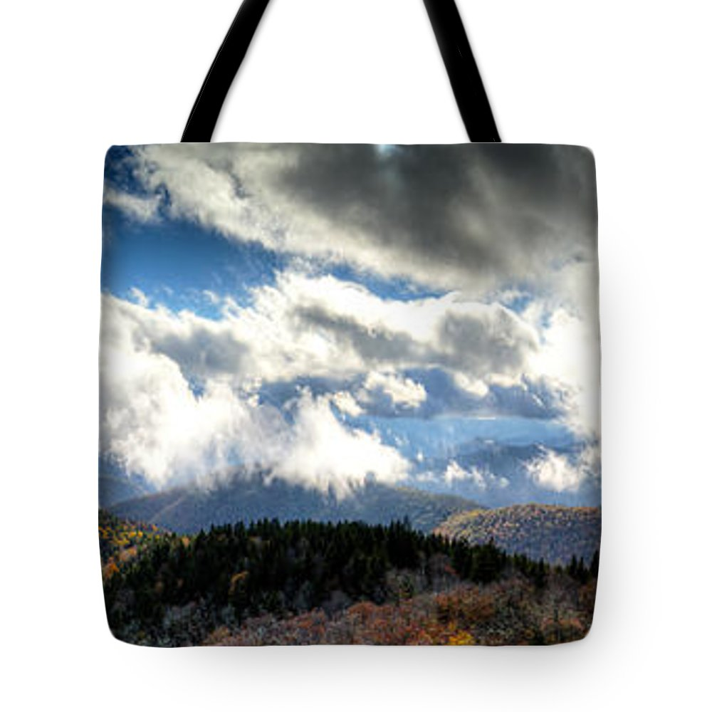 Cowee Tote Bag featuring the photograph Clouds Over The Blue Ridge Mountains by Steve Samples