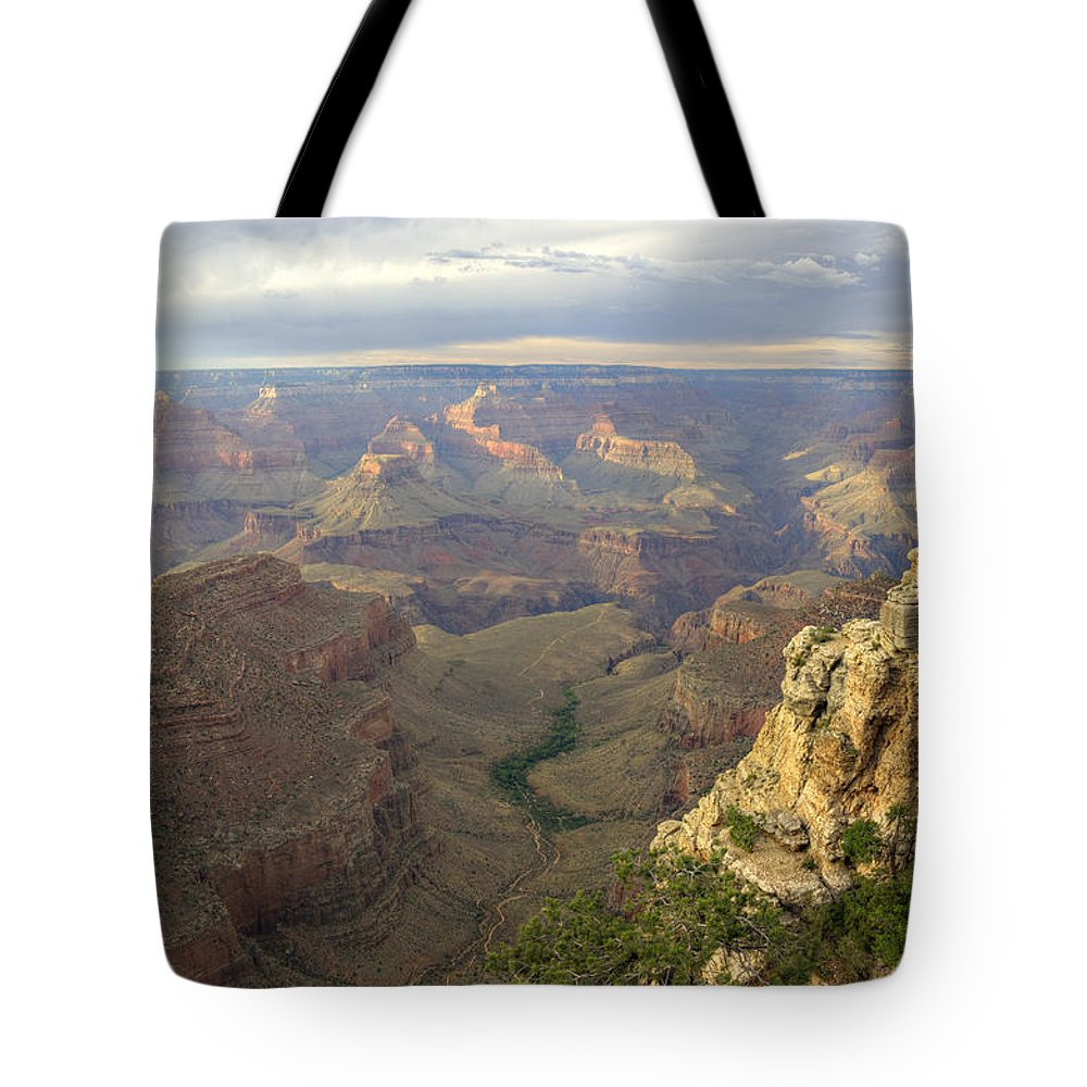Bright Tote Bag featuring the photograph Cloudy Bright Angel Trail by Ricky Barnard