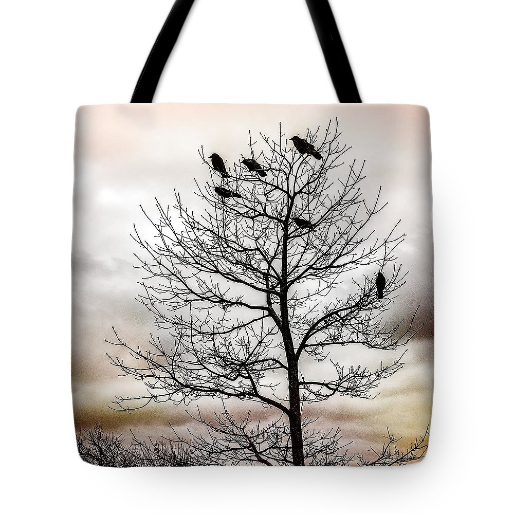 Cloudy Day Tote Bag featuring the photograph Cloudy Day Blackbirds by Roxy Hurtubise