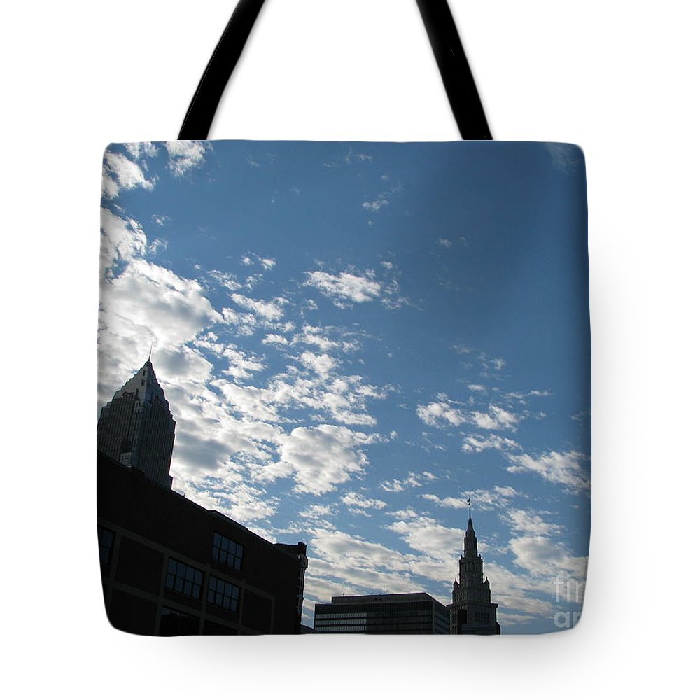 Cleveland Tote Bag featuring the photograph Cloudy In Cleveland by Michael Krek