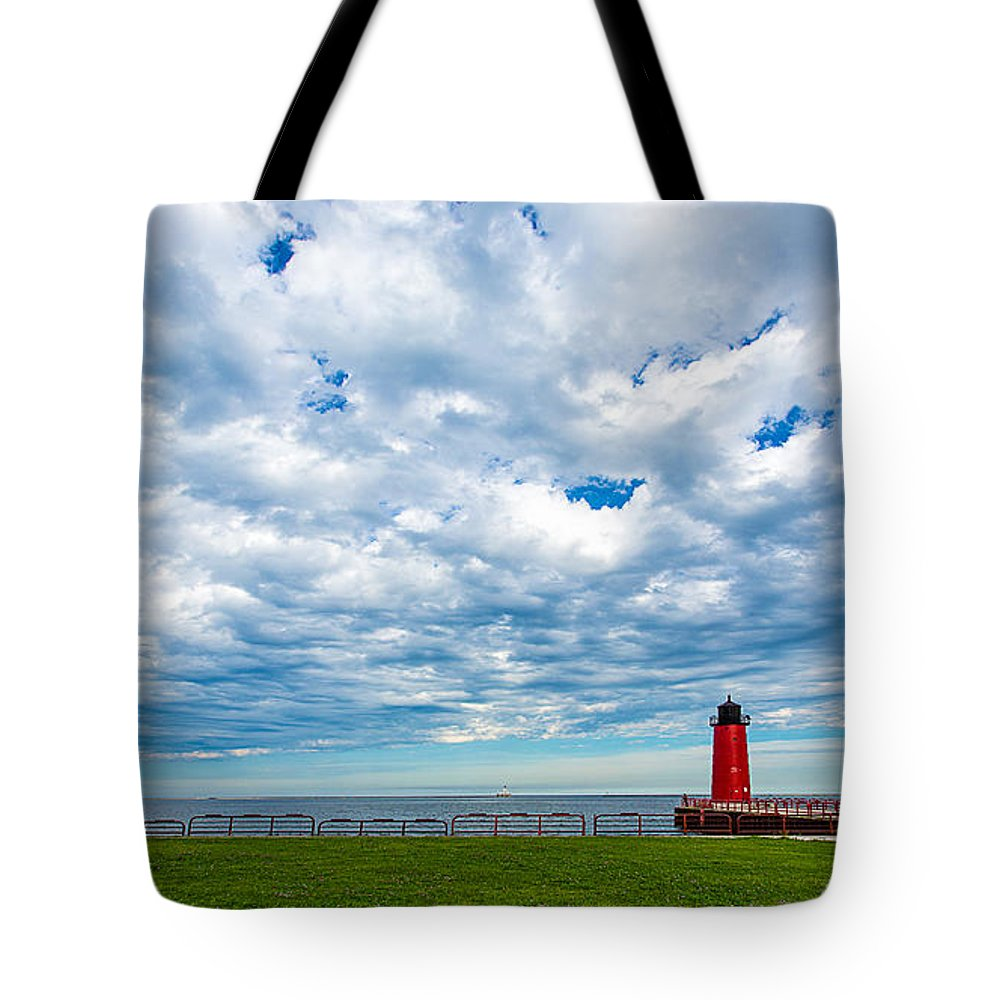 3rd Ward Tote Bag featuring the photograph Cloudy Milwaukee Harbor by Andrew Slater