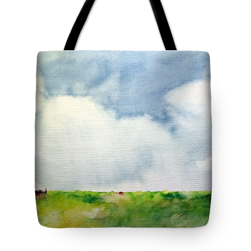 Cloud Clouds Summer Summerday Sun Blue Sky Green Land Landscape Watercolor Aquarell Village Cloudy Tote Bag featuring the painting Cloudy Summerday by Steve K