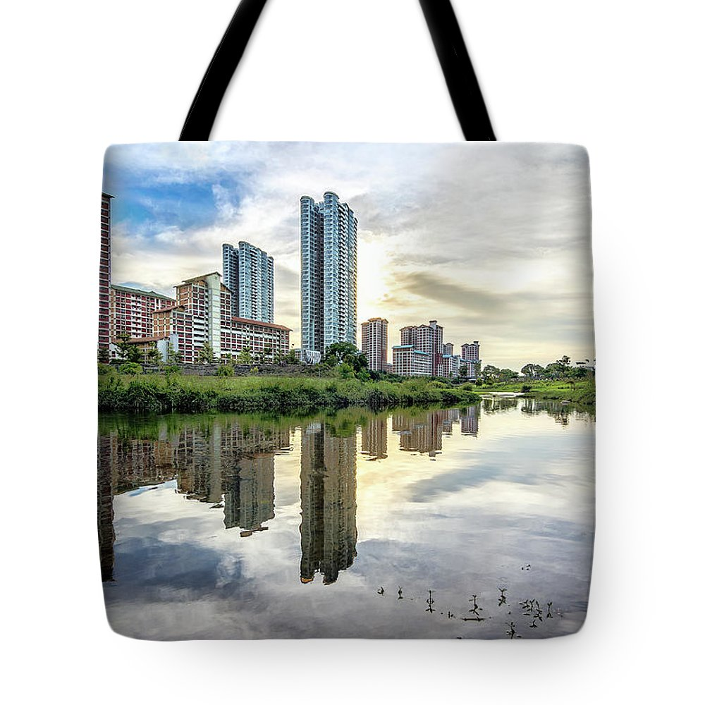 Standing Water Tote Bag featuring the photograph Clover Reflections by Tia Photography