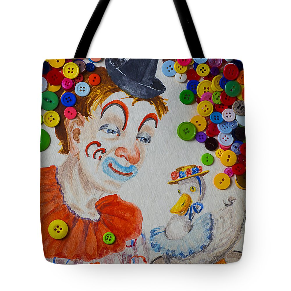 Clown Tote Bag featuring the photograph Clown And Duck With Buttons by Garry Gay
