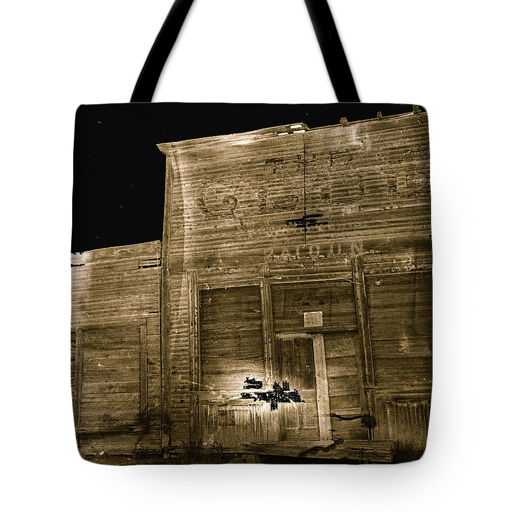 Club Saloon Ghost Town Walcott Wyoming 1971 Sepia Toned Water Damaged Negative Color Added Tote Bag featuring the photograph Club Saloon Ghost Town Walcott Wyoming 1971-2010 by David Lee Guss