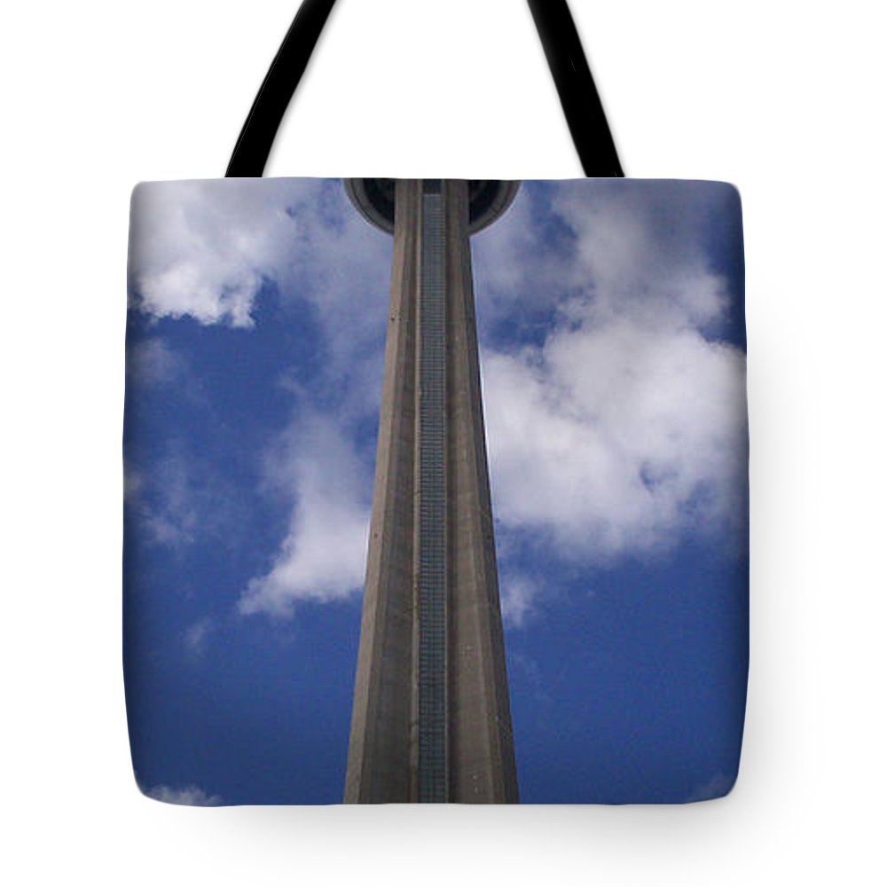 Cn Tower Tote Bag featuring the photograph Cn Tower - Detail by Richard Andrews