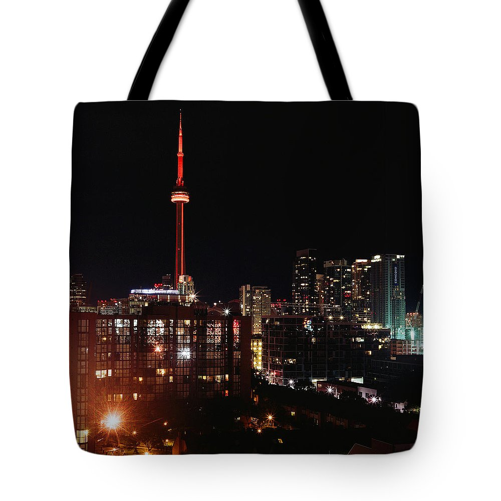 Canada Tote Bag featuring the photograph Cn Tower by Leonid Rozenberg
