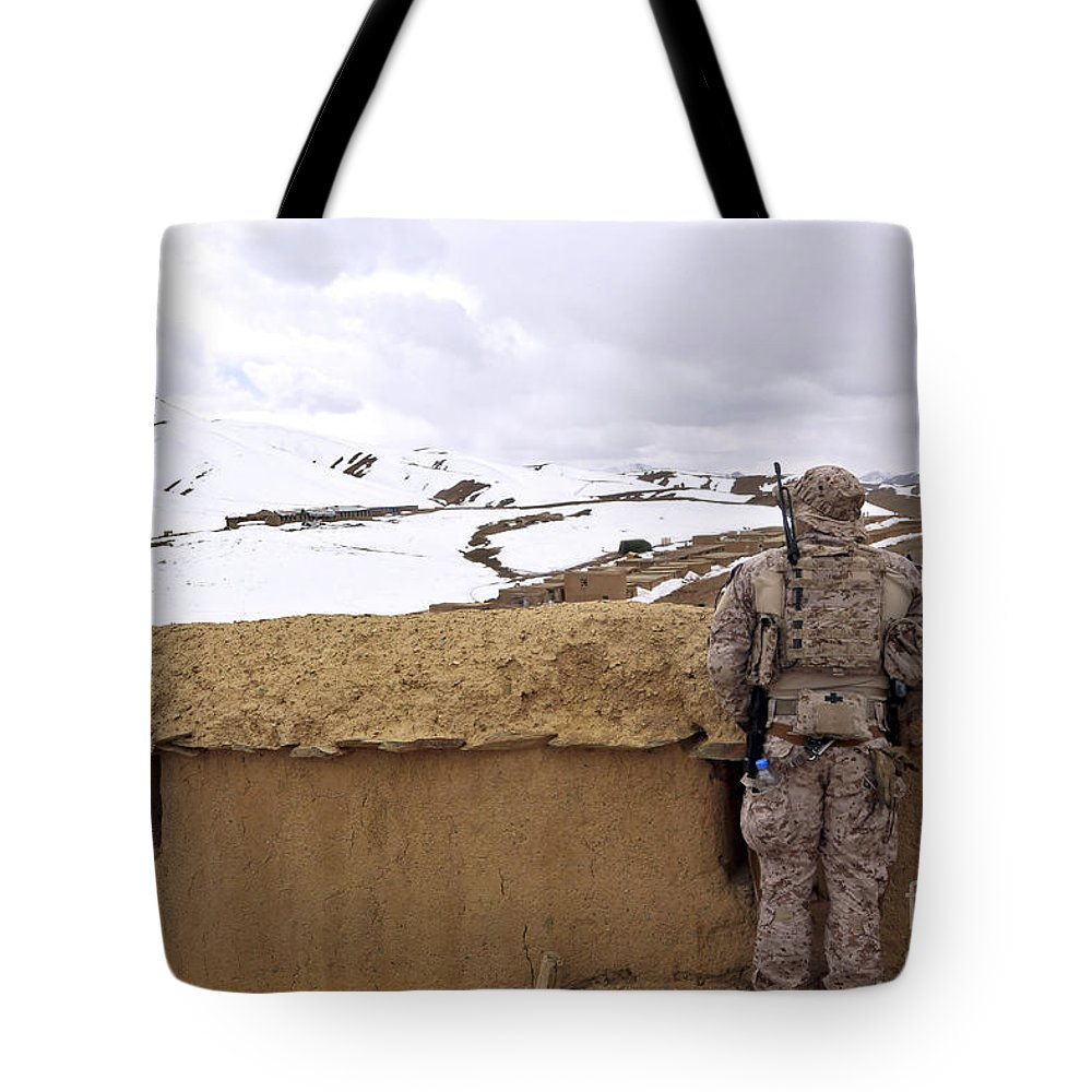 Afghanistan Tote Bag featuring the photograph Coalition Forces Visit The Hazaran by Stocktrek Images