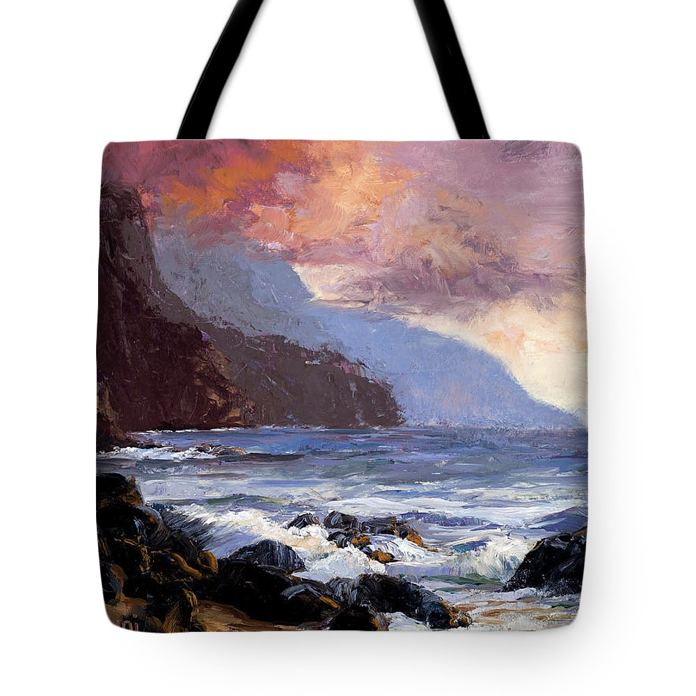 Ocean Tote Bag featuring the painting Coastal Cliffs Beckoning by Mary Giacomini