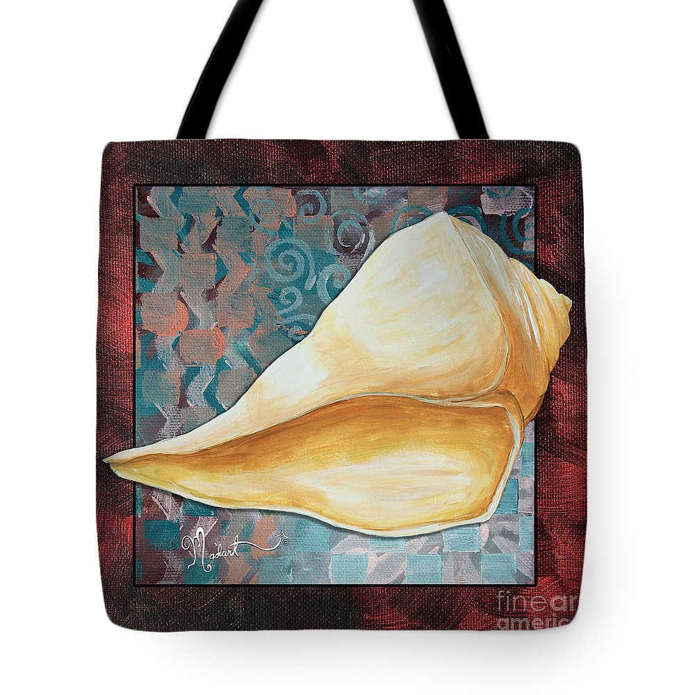 Coastal Tote Bag featuring the painting Coastal Decorative Shell Art Original Painting Sand Dollars Asian Influence II By Megan Duncanson by Megan Duncanson