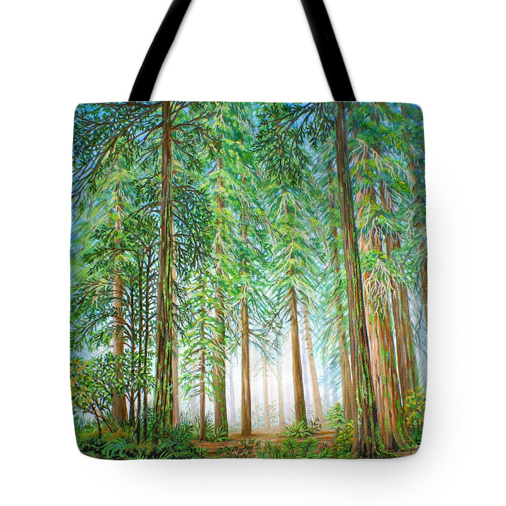 Trees Tote Bag featuring the painting Coastal Redwoods by Jane Girardot