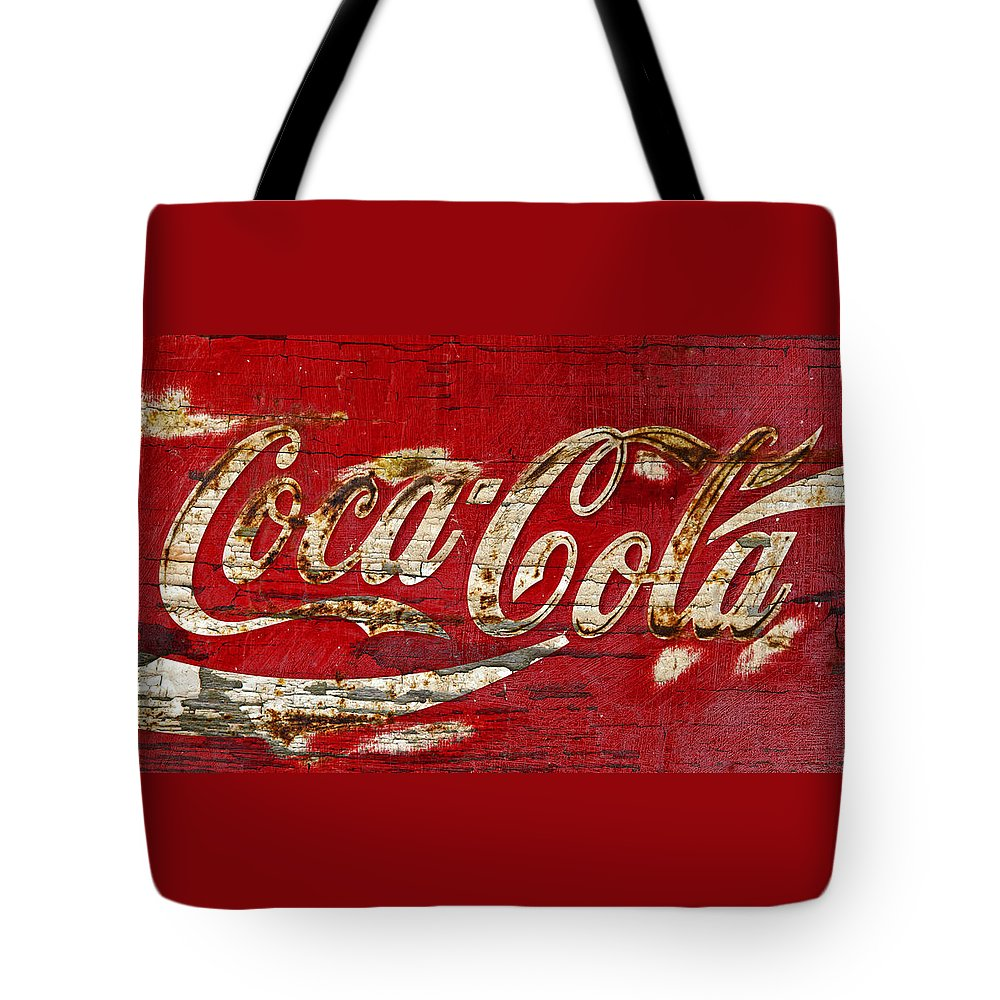 Coca Cola Tote Bag featuring the photograph Coca Cola Sign Cracked Paint by John Stephens