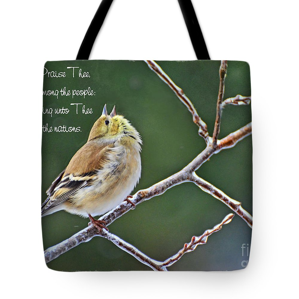 Nature Tote Bag featuring the photograph Cock-a-doodle Doo Gold Finch-with Verse by Debbie Portwood