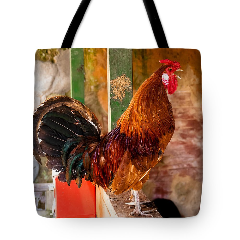 Rooster Tote Bag featuring the photograph Cockadoodledoo by Robert L Jackson