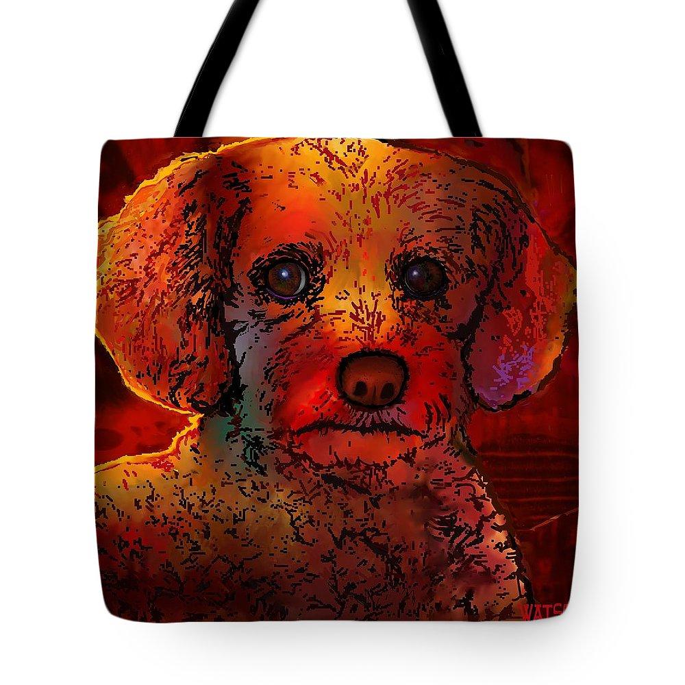 Cockapoo Canvas Tote Bag featuring the digital art Cockapoo Dog by Marlene Watson