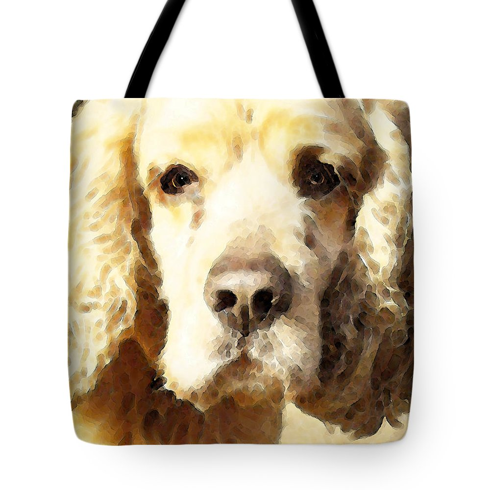 Cocker Spaniel Tote Bag featuring the painting Cocker Spaniel Art - Mellow Yellow by Sharon Cummings