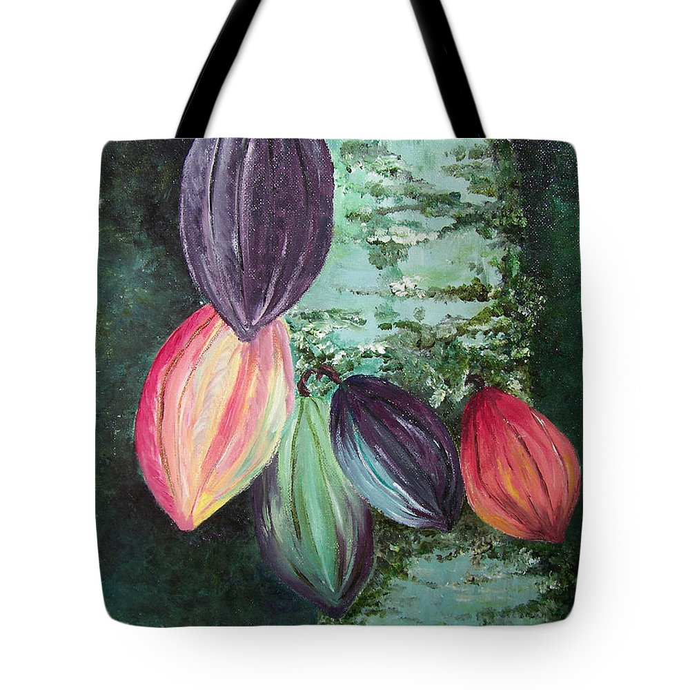 Cocoa On The Tree Tote Bag featuring the painting Cocoa Pods by Karin Dawn Kelshall- Best