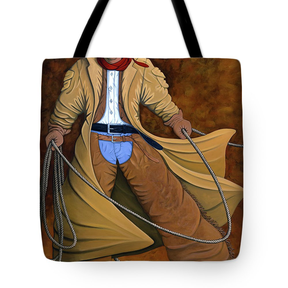 Contemporary Western Tote Bag featuring the painting Cody by Lance Headlee