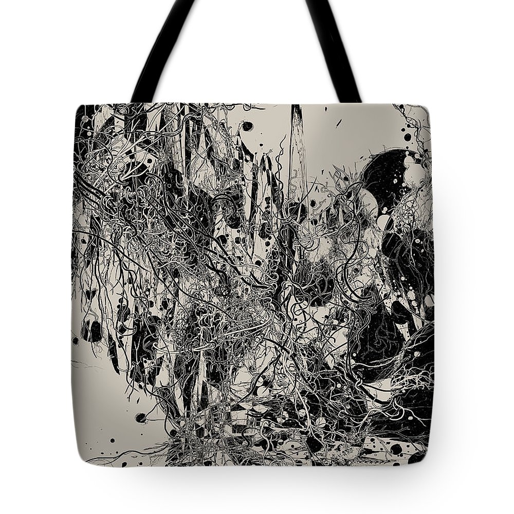 Abstract Tote Bag featuring the digital art Coexistence by Nicebleed