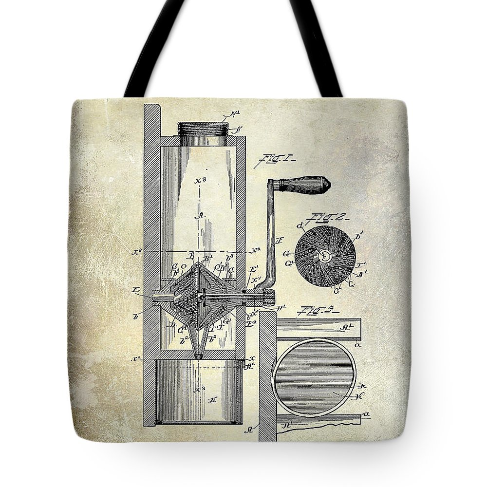 Coffe Mill Patent 1893 Tote Bag featuring the photograph Coffee Mill Patent 1893 by Jon Neidert