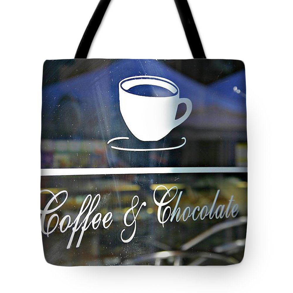Coffee Shop Tote Bag featuring the photograph Coffee And Chocolate by Sharon Popek