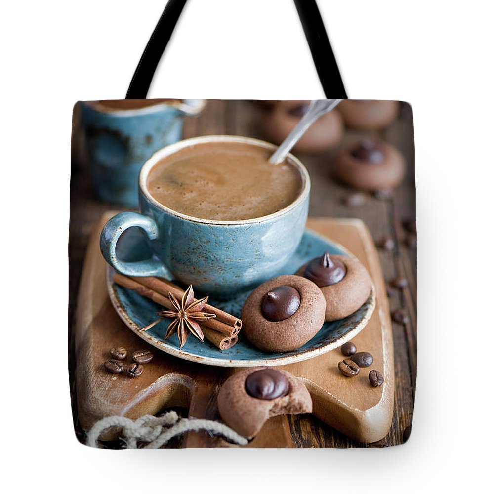 Temptation Tote Bag featuring the photograph Coffee And Cookies by Verdina Anna