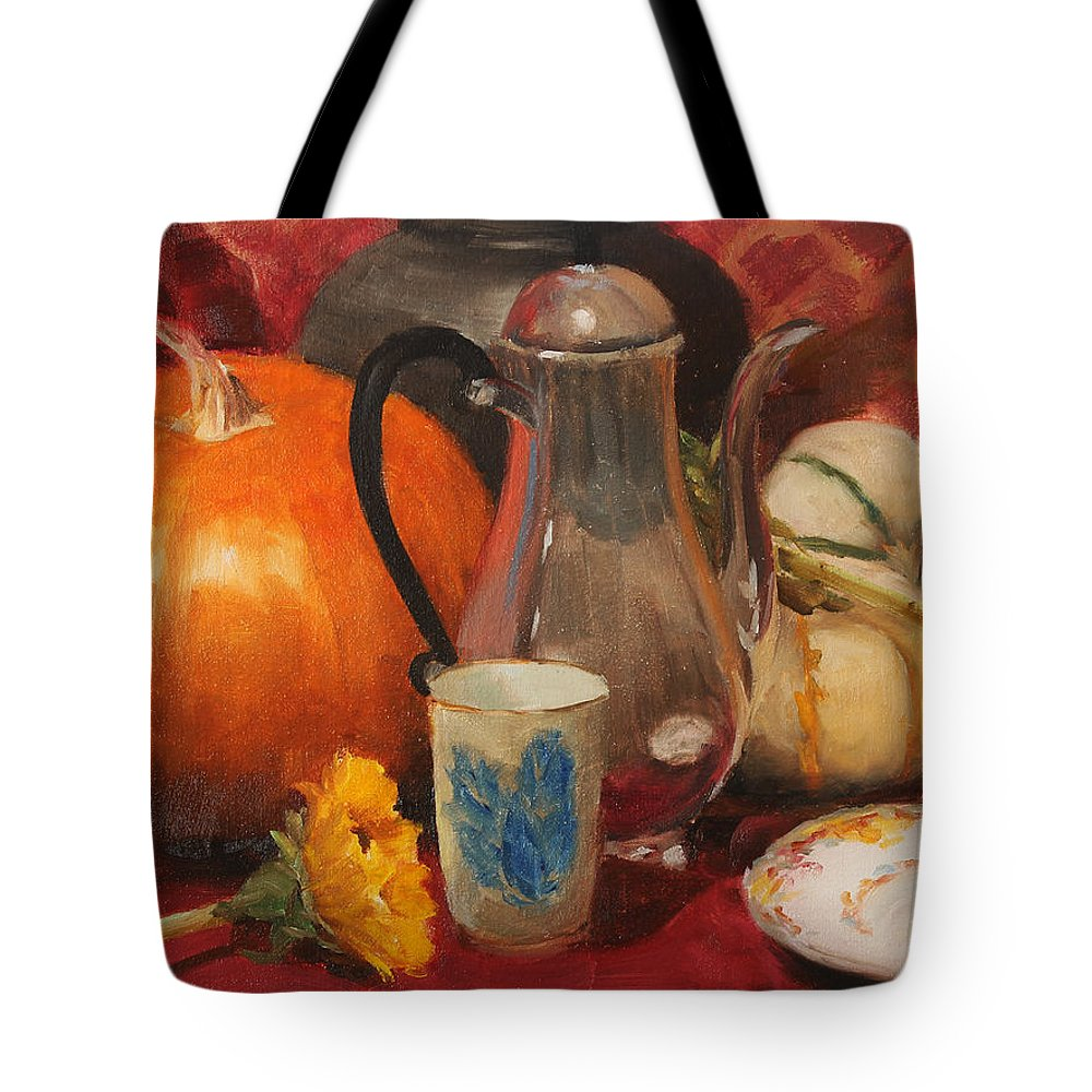 Pumpkin Tote Bag featuring the painting Coffee And Pumpkin Pie by Sandra Collins