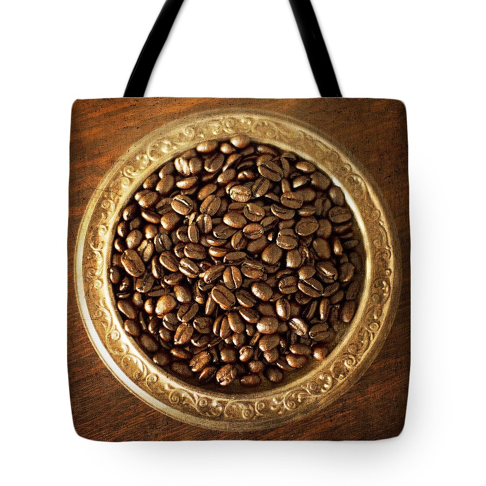 Coffee Tote Bag featuring the photograph Coffee Beans On Antique Silver Platter by Renee Hong